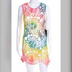 UNIF Astra Dress Rainbow Tie Dye Swimwear Cover Up
